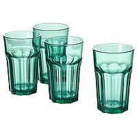 Набор стаканов из 4шт IKEA ПОКАЛ зелёный, 350мл