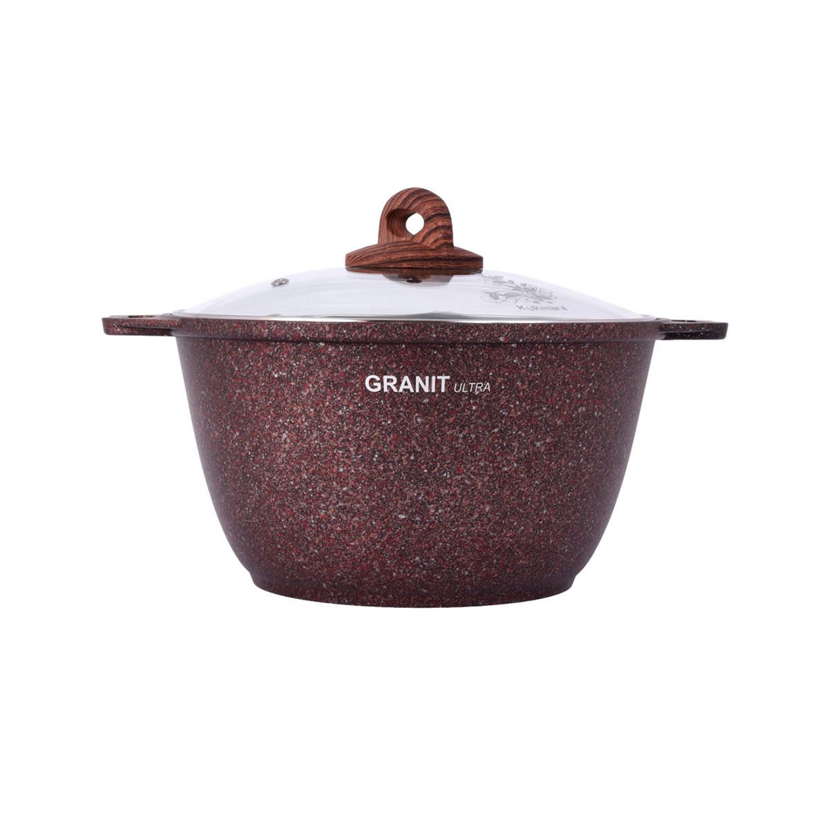 """Кастрюля 3 литра со стеклянной крышкой, """"Granit ultra"""" (red)"""