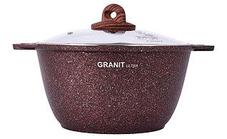 """Кастрюля 6 литров со стеклянной крышкой, """"Granit ultra"""" (red)"""
