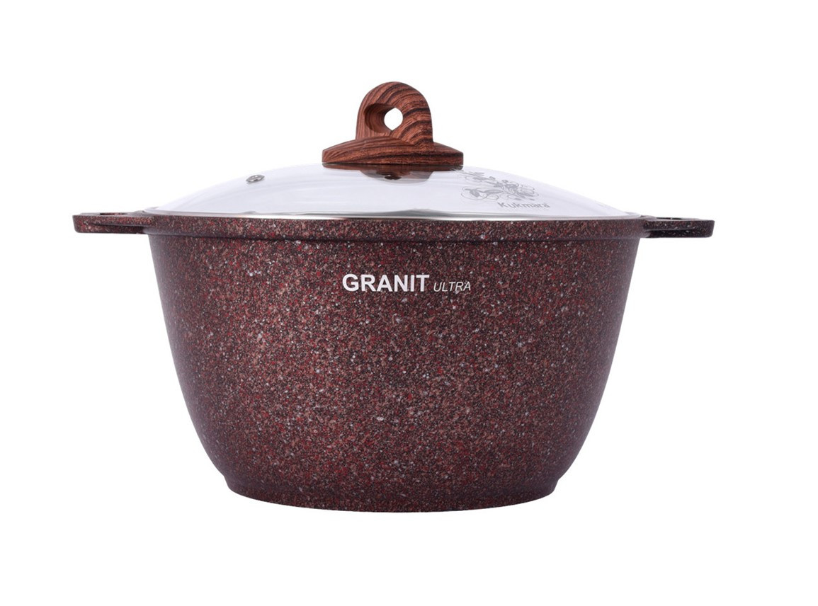 """Кастрюля 4 литра со стеклянной крышкой, """"Granit ultra"""" (red)"""