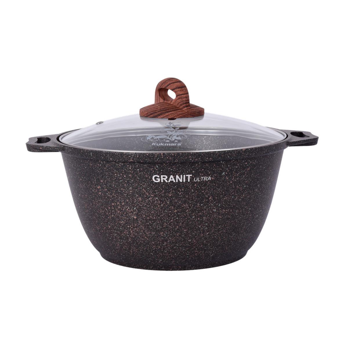 """Кастрюля 6 литров со стеклянной крышкой, """"Granit ultra"""""""