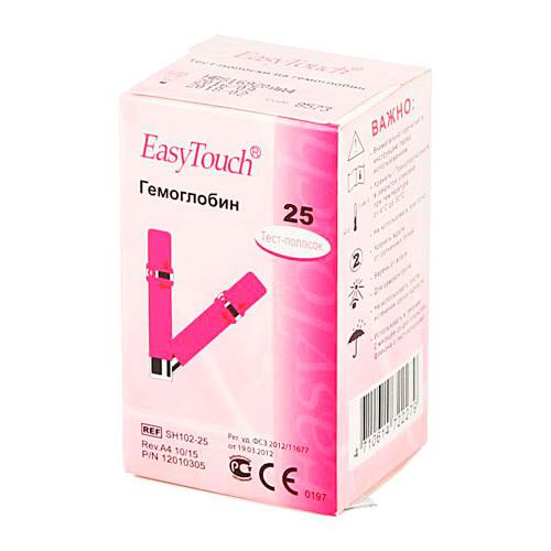 Тест-полоски EasyTouch® для определения гемоглобина в крови, в упаковке 25 полосок
