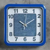 Часы настенные квадратные 'Джинса', 22х22 см, обод синий, микс