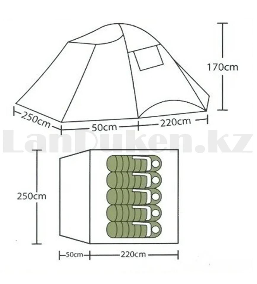 Пятиместная палатка автомат водонепроницаемая двухслойная 250*220*170 см Арктика 268- 5 Person tent - фото 3