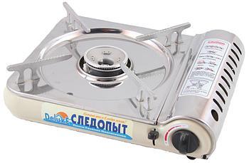 Плита настольная газовая СЛЕДОПЫТ - DeluxE, (с подогревом) нерж. сталь