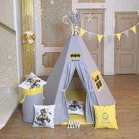 Детская палатка вигвам 6-ти гранный серо/желтый