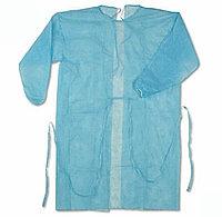 Хирургический одноразовый халат 25 гр/м2, рукава на резинке