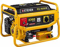 Бензиновый генератор STEHER (Штехер), 3/3,3 кВт, однофазный, синхронный, щеточный, с электростартером