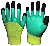 Нейлоновые рабочие перчатки с двойным латексным покрытием (наготки).