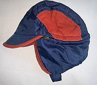 Шапка Жокей на липучке с утяжкой и козырьком размер 52см, цвет синий с оранжевым