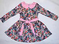 Платье с длиным рукавом нежнорозовым воротничком Осенний блюз размер 110 см