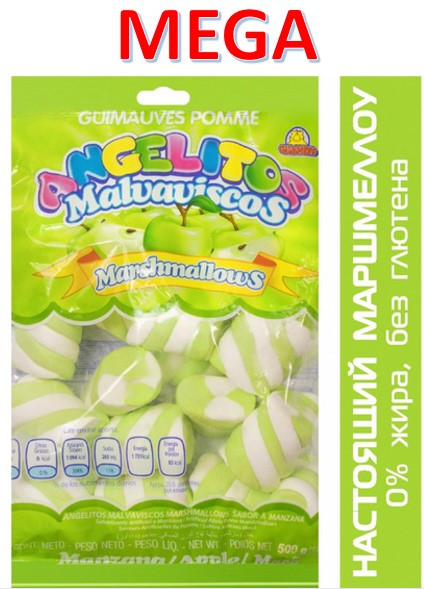 Маршмеллоу Гигант косички Яблоко 0,5кг Гуанди (12шт-упак)