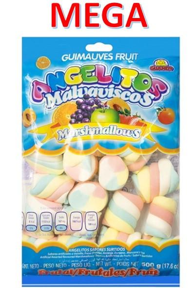 Маршмеллоу Гигант косички фруктовые разноцветные 0,5кг Гуанди (12шт-упак)