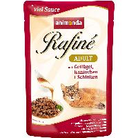 Rafine суп для взрослых кошек с домашней птицей. кроликом и ветчиной 100гр