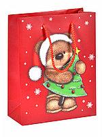 Пакет новогодний Мишка на красном