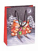 Пакет новогодний Мишки с санками