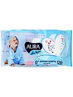 AURA ULTRA COMFORT Влажные салфетки для детей с экстрактом алоэ и витамином Е с крышкой 120шт