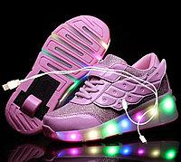 Роликовые кроссовки со светящейся подошвой и USB зарядкой