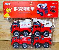 666-42 Пожарная спец техника 4в1 в пакете красный разбирайка 30*16см, фото 1