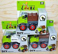 677-114 service спец машина зеленая разбирайка(кран,грузовик,грузовик с деревом) 3вида из 12шт в уп 15*15см, фото 1