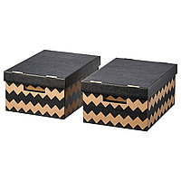 PINGLA ПИНГЛА Коробка с крышкой, черный/естественный, 28x37x18 см