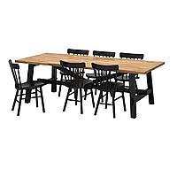 SKOGSTA СКОГСТА / NORRARYD НОРРАРИД Стол и 6 стульев, акация/черный, 235x100 см