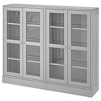 HAVSTA ХАВСТА Комбинация д/хранения+стекл дверц, серый, 162x37x134 см