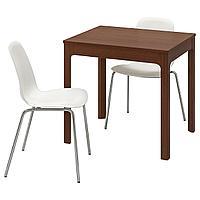 EKEDALEN ЭКЕДАЛЕН / LEIFARNE ЛЕЙФ-АРНЕ Стол и 2 стула, коричневый/белый, 80/120 см