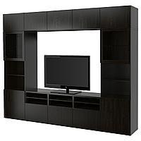 BESTÅ БЕСТО Шкаф для ТВ, комбин/стеклян дверцы, Лаппвикен/Синдвик черно-коричневый прозрачное стекло,
