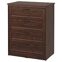 SONGESAND СОНГЕСАНД Комод с 4 ящиками, коричневый, 82x104 см