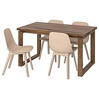MÖRBYLÅNGA МОРБИЛОНГА / ODGER ОДГЕР Стол и 4 стула, коричневый белый/бежевый, 140x85 см