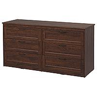 SONGESAND СОНГЕСАНД Комод с 6 ящиками, коричневый, 161x81 см
