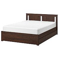 SONGESAND СОНГЕСАНД Каркас кровати с 4 ящиками, коричневый/Леирсунд, 160x200 см