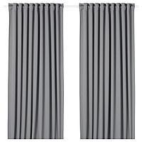 MAJGULL МАЙГУЛЛ Гардины, блокирующие свет, 2 шт., серый, 145x300 см