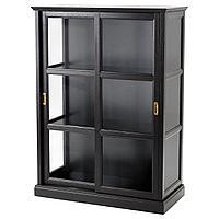 MALSJÖ МАЛЬШЁ Шкаф-витрина, черная морилка, 103x48x141 см