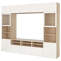 BESTÅ БЕСТО Шкаф для ТВ, комбин/стеклян дверцы, под беленый дуб/Сельсвикен глянцевый/белый прозрачное стекло,