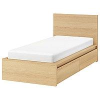MALM МАЛЬМ Каркас кровати+2 кроватных ящика, дубовый шпон, беленый/Лонсет, 90x200 см