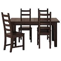 STORNÄS СТУРНЭС / KAUSTBY КАУСТБИ Стол и 4 стула, коричнево-чёрный, 147 см