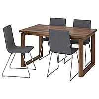 MÖRBYLÅNGA МОРБИЛОНГА / VOLFGANG ВОЛЬФГАНГ Стол и 4 стула, коричневый/Гуннаред классический серый, 140x85 см