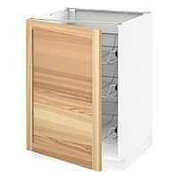 METOD МЕТОД Напольный шкаф с проволочн ящиками, белый/Торхэмн ясень, 60x60 см