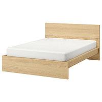 MALM МАЛЬМ Каркас кровати, дубовый шпон, беленый, 160x200 см