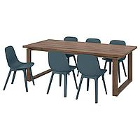 MÖRBYLÅNGA МОРБИЛОНГА / ODGER ОДГЕР Стол и 6 стульев, дубовый шпон/синий, 220x100 см