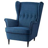 STRANDMON СТРАНДМОН Кресло с подголовником, Шифтебу темно-синий,