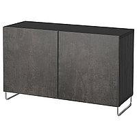 BESTÅ БЕСТО Комбинация для хранения с дверцами, черно-коричневый КЭЛЛЬВИКЕН/СУЛАРП/темно-серый под бетон,