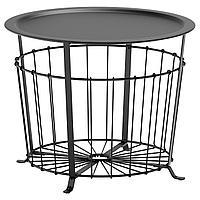 GUALÖV ГУАЛЁВ Столик с отделениями д/хранения, черный, 60 см