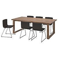 MÖRBYLÅNGA МОРБИЛОНГА / BERNHARD БЕРНГАРД Стол и 6 стульев, коричневый/Кават темно-коричневый, 220x100 см