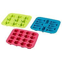 PLASTIS ПЛАСТИС Формочка для льда, зеленый/розовый/бирюзовый,