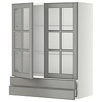 METOD МЕТОД / MAXIMERA МАКСИМЕРА Навесной шкаф/2 стек дв/2 ящика, белый/Будбин серый, 80x100 см