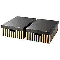 PINGLA ПИНГЛА Коробка с крышкой, черный/естественный, 56x37x18 см
