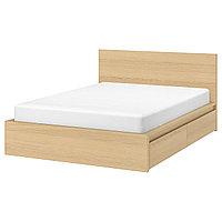 MALM МАЛЬМ Каркас кровати с 4 ящиками, дубовый шпон, беленый/Леирсунд, 180x200 см